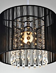 cheap -1-Light 25CM(9.84inch) Crystal / LED Pendant Light Metal Drum Chrome Modern Contemporary 110-120V / 220-240V