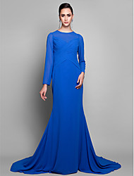 cheap -Mermaid / Trumpet Elegant Formal Evening Dress Jewel Neck Long Sleeve Court Train Georgette with Criss Cross Side Draping 2021