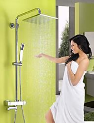 Недорогие -смеситель для душа - современная хромированная душевая система керамический клапан / из латуни / с двумя ручками смеситель для душа с тремя отверстиями для ванны