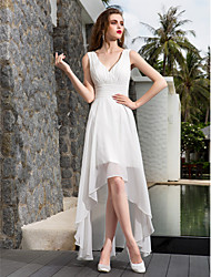 cheap -A-Line Wedding Dresses V Neck Asymmetrical Georgette Regular Straps Formal Simple Casual Plus Size with Ruched Side-Draped 2020