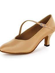 cheap -Women's Modern Shoes / Ballroom Shoes Leatherette Buckle Heel Chunky Heel Customizable Dance Shoes Brown / EU43