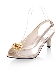 cheap -Women's Sandals Kitten Heel Open Toe Buckle Leatherette Comfort Walking Shoes Spring / Summer Gold / Black / Silver