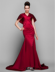 cheap -Mermaid / Trumpet Elegant Vintage Inspired Formal Evening Dress V Neck Short Sleeve Court Train Satin with Side Draping 2021
