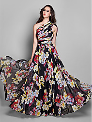 cheap -A-Line One Shoulder Floor Length Chiffon Floral / Elegant Formal Evening / Holiday Dress with Pattern / Print / Ruched 2020