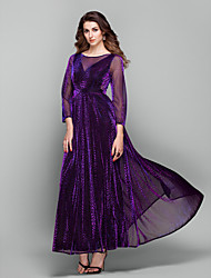 cheap -Sheath / Column Elegant Prom Formal Evening Military Ball Dress Jewel Neck 3/4 Length Sleeve Ankle Length Tulle with 2020 / Illusion Sleeve