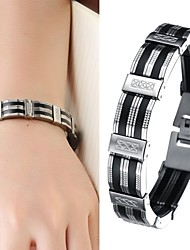 cheap -Leather Bracelet Ladies Unique Design Fashion Leather Bracelet Jewelry Silver / Black For Christmas Gifts Wedding Party Daily Casual / Silicone / Titanium Steel