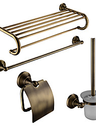 cheap -Bathroom Accessory Set Contemporary Brass 4pcs - Hotel bath Toilet Brush Holder / tower bar / Toilet Paper Holders