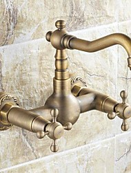 cheap -Kitchen faucet - Two Holes Antique Brass Standard Spout Wall Mounted Traditional Kitchen Taps