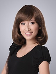cheap -Fashion Medium Wavy Natural Medium Brown about 12 Inches Synthetic Hair Wig