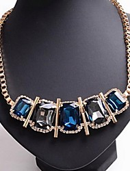 cheap -Women's Exaggerated diamond gems that geometric squares and white female clavicle short chain necklace