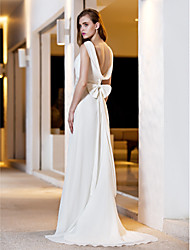cheap -A-Line Scoop Neck Sweep / Brush Train Satin / Georgette Made-To-Measure Wedding Dresses with by LAN TING BRIDE®