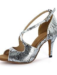 cheap -Women's Dance Shoes Latin Shoes Ballroom Shoes Sandal Buckle Stiletto Heel Silver Gold Buckle / EU43