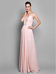 cheap -Sheath / Column Beautiful Back Prom Formal Evening Dress Spaghetti Strap Sleeveless Floor Length Chiffon with Ruched Beading Side Draping 2021