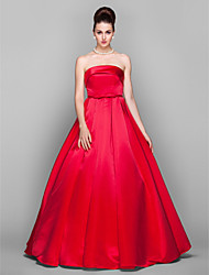 cheap -Ball Gown Strapless Floor Length Satin Elegant / Red Prom / Quinceanera Dress with Bow(s) 2020