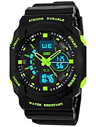 cheap -SKMEI Men's Sport Watch Quartz Rubber Black 30 m Water Resistant / Waterproof Alarm Calendar / date / day Analog - Digital Orange Green Blue Two Years Battery Life / Luminous / Dual Time Zones