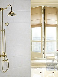cheap -Shower Faucet - Antique Antique Brass Wall Mounted Ceramic Valve Bath Shower Mixer Taps