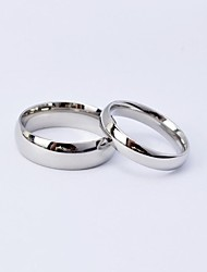 cheap -Couple's Couple Rings Silver King & Queen Titanium Steel Round Ladies Simple everyday Wedding Daily Jewelry Classic Style Friendship