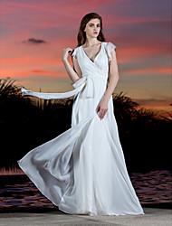 cheap -Sheath / Column V Neck Floor Length Georgette Cap Sleeve Sexy Sparkle & Shine Made-To-Measure Wedding Dresses with Bowknot / Sash / Ribbon / Criss-Cross 2020 / Petal Sleeve