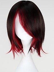 cheap -RWBY Ruby Cosplay Wigs Women's 14 inch Heat Resistant Fiber Anime Wig
