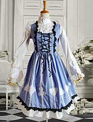cheap -Outfits Classic Lolita Dress Women's Blue Lolita Accessories Patchwork Blouse Dress Cotton Halloween Costumes / Medium Length