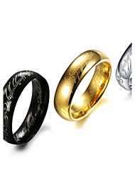 cheap -Men's Band Ring Golden Black Silver Titanium Steel Circle Personalized Wedding Party Jewelry