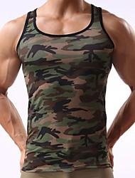 cheap -Men's Tank Top Shirt Camo / Camouflage Print Sleeveless Daily Slim Tops Active Army Green / Sports / Summer