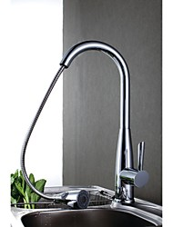 cheap -Contemporary Pull-out/Pull-down Deck Mounted Pullout Spray with  Ceramic Valve Single Handle One Hole for  Chrome , Kitchen faucet