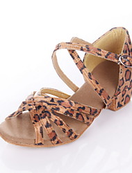 cheap -Women's Dance Shoes Latin Shoes Ballroom Shoes Sandal Low Heel Leopard Black Royal Blue Buckle Kid's / Suede / Satin / EU40