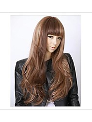 cheap -Cap 26 Inches Long Wavy #30 Light Brown Synthetic Wigs High Temperature Fiber Full Bangs Wig