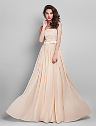 cheap -Sheath / Column Elegant Minimalist Pastel Colors Prom Formal Evening Dress Strapless Sleeveless Floor Length Georgette with Sash / Ribbon Bow(s) Ruched 2020
