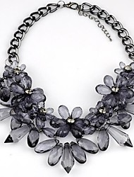 cheap -Women's Crystal Pendant Necklace Statement Necklace Statement Ladies Luxury Vintage Synthetic Gemstones Resin Black Light gray Necklace Jewelry For