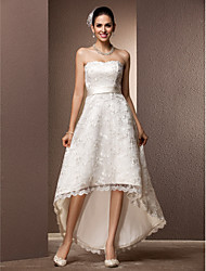 cheap -A-Line Wedding Dresses Sweetheart Neckline Asymmetrical Lace Strapless Little White Dress with Sash / Ribbon 2021