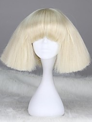 cheap -Synthetic Wig Straight kinky Straight kinky straight Straight With Bangs Wig Blonde Short White Synthetic Hair 12 inch Women's With Bangs Blonde