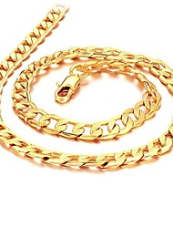 cheap -Men's Chain Necklace Cuban Link Box Chain Mariner Chain 18K Gold Plated Gold Plated Gold Necklace Jewelry For Wedding Party Daily Casual