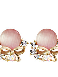 cheap -Women's Crystal Stud Earrings Crystal Gold Plated Opal Earrings Jewelry Green / Pink For Party Daily Casual