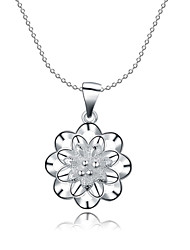 cheap -Women's Cubic Zirconia Choker Necklace Pendant Necklace Pendant Hollow Out Flower Ladies Synthetic Gemstones Sterling Silver Zircon White Necklace Jewelry For Christmas Gifts Wedding Party Thank You
