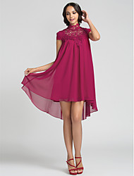 cheap -Sheath / Column High Neck Asymmetrical Chiffon Bridesmaid Dress with Lace