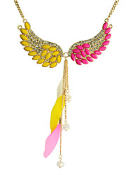 cheap -Women's Crystal Statement Necklace Crystal Resin Feather Orange Rose Necklace Jewelry For Party Daily Casual