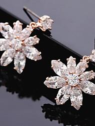 Недорогие -Белый Цветы Цирконий Серьги Бижутерия Розовое золото Назначение