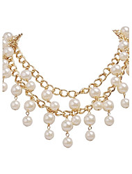 cheap -JANE STONE Fashion Casual White Pearls and Golden Chain Bib Necklace