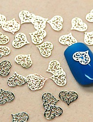 cheap -200pcs hollow lace heart shape slice metal nail art decoration