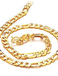 cheap -Men's Chain Necklace Baht Chain Ladies 18K Gold Plated Gold Plated Yellow Gold Golden Necklace Jewelry For Christmas Gifts Wedding Party Daily Casual