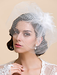 cheap -Two-tier Cut Edge Wedding Veil Blusher Veils / Birdcage Veils with Feather 10-20cm Tulle A-line, Ball Gown, Princess, Sheath / Column, Trumpet / Mermaid
