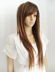 cheap -Synthetic Wig Straight Style With Bangs Wig Light Brown Synthetic Hair 28 inch Women's Highlighted / Balayage Hair Brown Wig Long hairjoy
