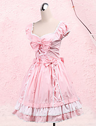 cheap -Princess Sweet Lolita Dress Women's Girls' Cotton Japanese Cosplay Costumes Plus Size Customized Pink Ball Gown Bowknot Short Sleeve Medium Length