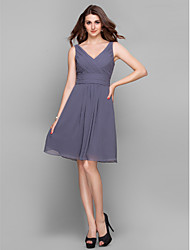 cheap -Sheath / Column V Neck Knee Length Chiffon Bridesmaid Dress with Criss Cross / Ruched