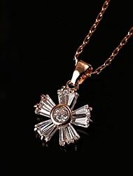 Недорогие -Белый Цветы Цирконий Сплав Розовое золото Ожерелье Бижутерия Назначение Повседневные