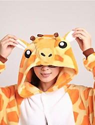 cheap -Adults' Kigurumi Pajamas with Slippers Nightwear Camouflage Giraffe Animal Onesie Pajamas Coral fleece Orange Cosplay For Men and Women Animal Sleepwear Cartoon Festival / Holiday Costumes