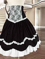cheap -Dress Gothic Lolita Dress Women's Black / White Lolita Accessories Patchwork Cotton Halloween Costumes / Short Length