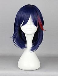 cheap -Cosplay Matoi Ryuuko Cosplay Wigs Men's 16 inch Heat Resistant Fiber Ink Blue Anime